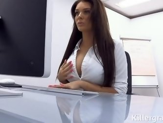 Big boobs office slut fucks big cocked stud