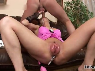 Skanky brunette loves sucking big dick and anal adventures