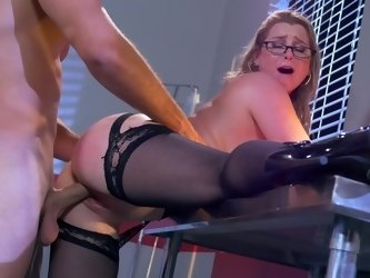 Blonde doctor in sexy garters gets nailed by a handsome man