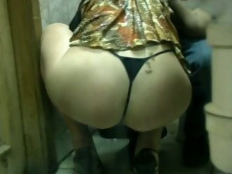 Russian blonde amateur bitch was too drunk and she sucked a dick of one man in the public toilet of the night club on POV video.