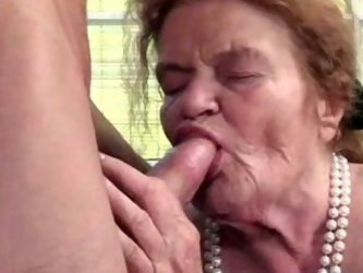 Only one thing can calm my wife's angry time worn grandma - my big juicy cock. She's always happy to polish my tool with her toothless mouth