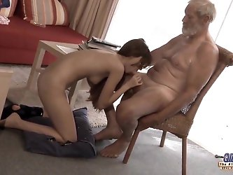 Old Young - Big Cock Grandpa Fucked by Teen lick thick dick