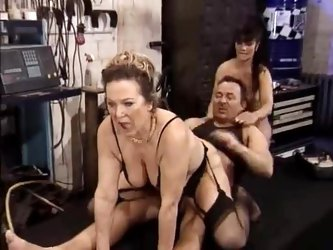 Old ladies double team his cock