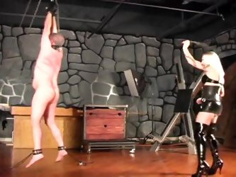 Mistress mercilessly whips her man (for real)
