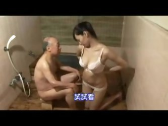 Japanese Nurs Taking Care About Grandpa