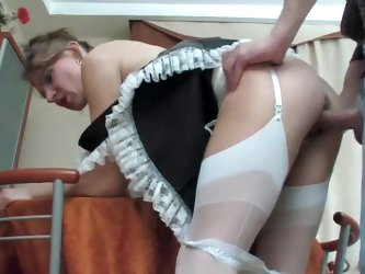 French maid whore fucked in her pussy
