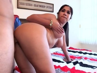 Curvy Cuban girl doggystyle fucking with a big dick guy