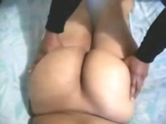 My hot Pakistani auntie is a mature dark skin lady with fat booty. Watch how it looks like nude from behind when she lies in my bed.