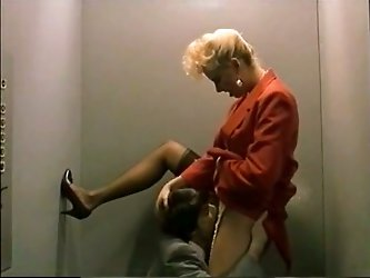 Watch this thirsty and cock hungry babe giving a nice blowjob to her newly met friend in an elevator in The Classic Porn sex clips.