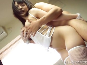 Asian hottie is fucked silly by two dudes in a hot threesome