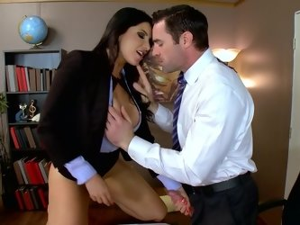 Office porn action with big-tittied brunette and her coworker