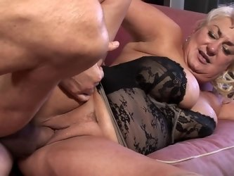 Lusty fat granny fucked by a fit man with tons of energy