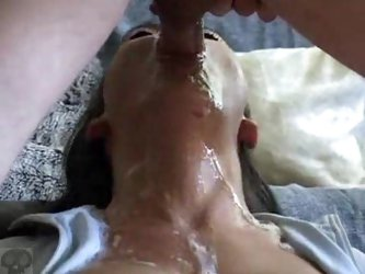 Chick gags as he fucks his whole cock down her throat