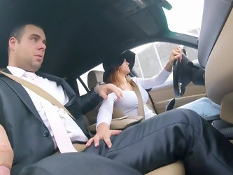 Barbara Bieber picks up a wedding guest to give him a ride. Girl drives the car and touches man's cock. He doesn't understand what she is do