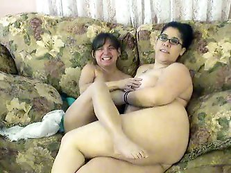 One BBW black haired fattie and one petite young lady give us lesbian performance. Lesbies get naked and greedily lick each other's trimmed soaki